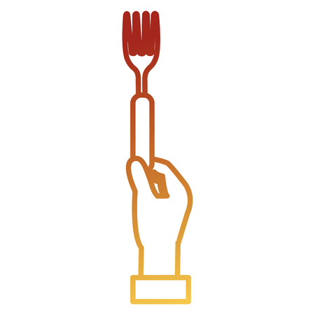 hand with fork cutlery vector illustration design Stock Photo