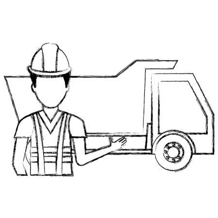 builder with dump truck character vector illustration design