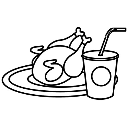 delicious chicken meat with soda drink vector illustration design Stock Illustration - 105598365