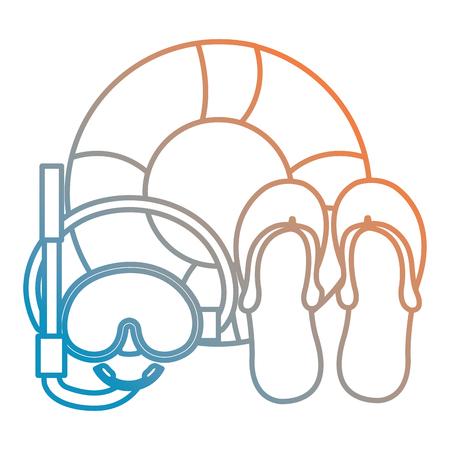 snorkel mask with float and sandals vector illustration design