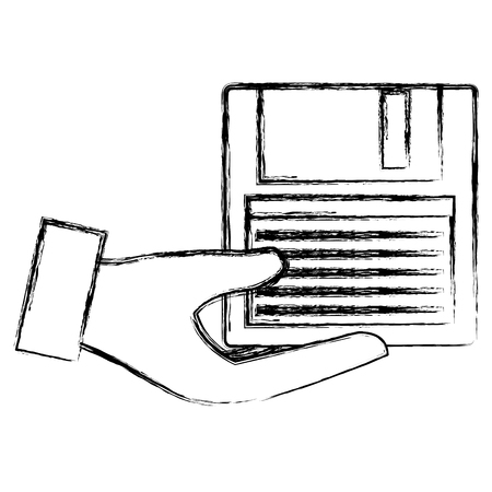 hands with floppy disk vector illustration design