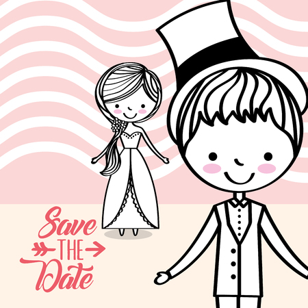 cute wedding couple greeting card save the date vector illustration Illustration