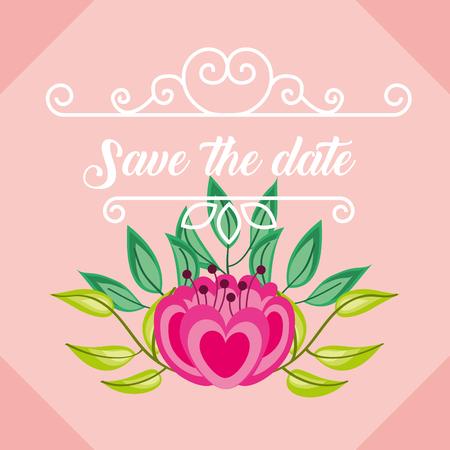 romantic wedding save the date flower decoration vintage vector illustration Illustration