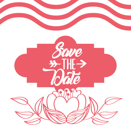save the date flower romantic wedding card vector illustration