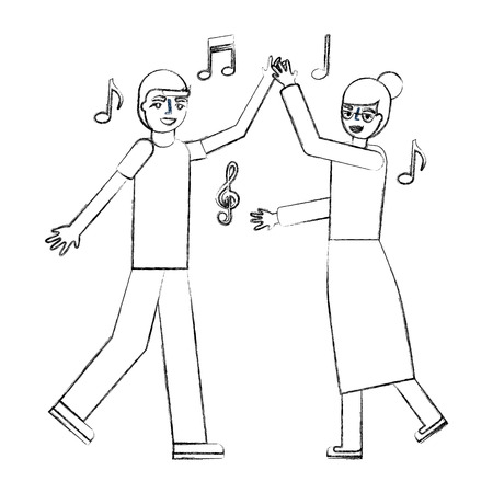 grandmother and grandson dancing music vector illustration