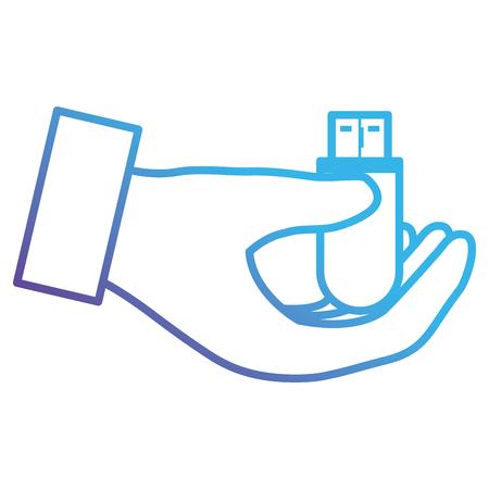 mains avec conception d & # 39; illustration vectorielle mémoire usb Vecteurs