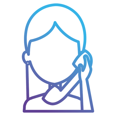 woman calling with telephone vector illustration design 版權商用圖片