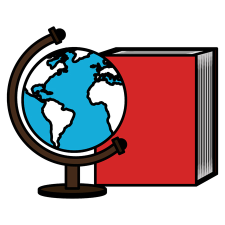 text book school with planet earth vector illustration design Stock Photo