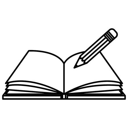 Lápiz de escritura en la escuela de libros de texto, diseño de ilustraciones vectoriales