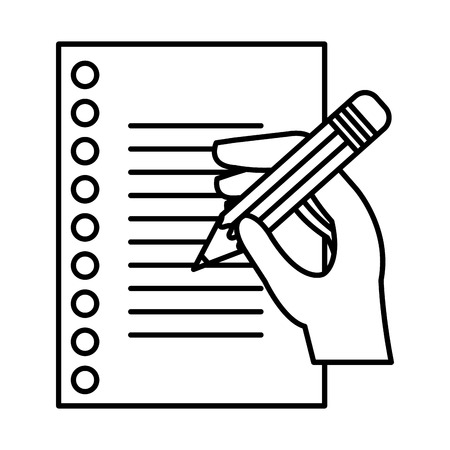 hand writing in notebook sheet vector illustration design