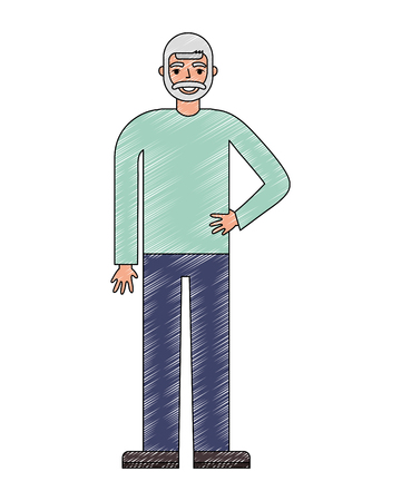 old bearded man standing character vector illustration