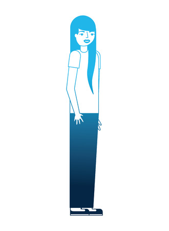 teenage girl standing in casual clothes vector illustration blue neon Banque d'images - 112390000