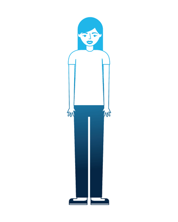 teenage girl standing in casual clothes vector illustration blue neon Foto de archivo - 105572134