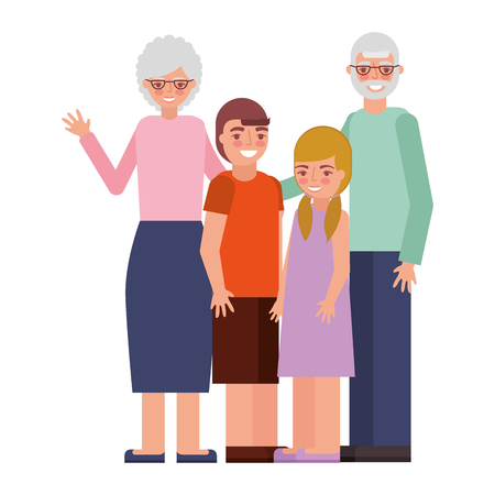 grandparents with grandson and granddaughter vector illustration Standard-Bild - 105572137