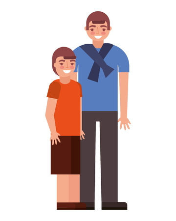 man and young boy embraced family vector illustration Illustration