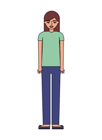 adolescente, debout, dans, vêtements décontractés, vecteur, illustration