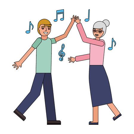 grandmother and grandson dancing music vector illustration