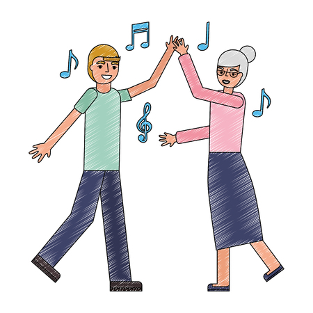 grandmother and grandson dancing music vector illustration Standard-Bild - 105572140