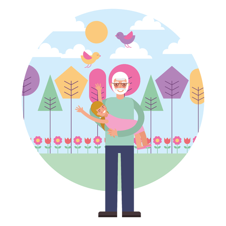 grandfather with granddaughter characters vector illustration design