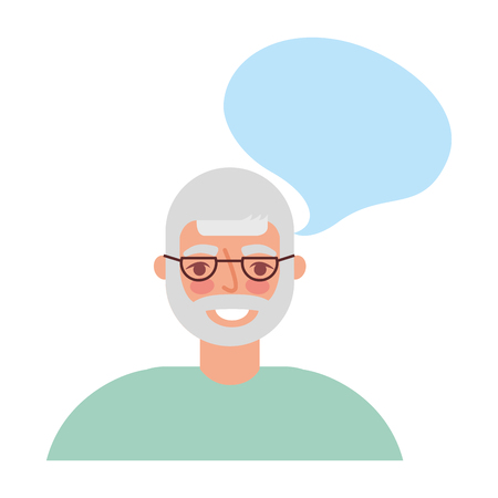 old man with speech bubble vector illustration design 向量圖像