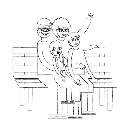 grandparents with grandchildren sitting on bench vector illustration hand drawing