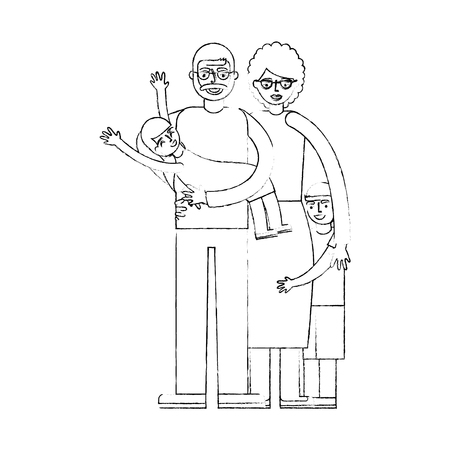 grandpa carrying granddaughter and grandma with grandson vector illustration hand drawing