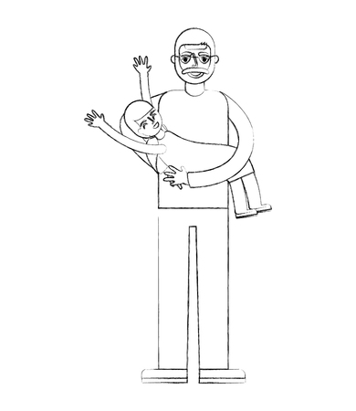 happy grandpa carrying her granddaughter vector illustration hand drawing