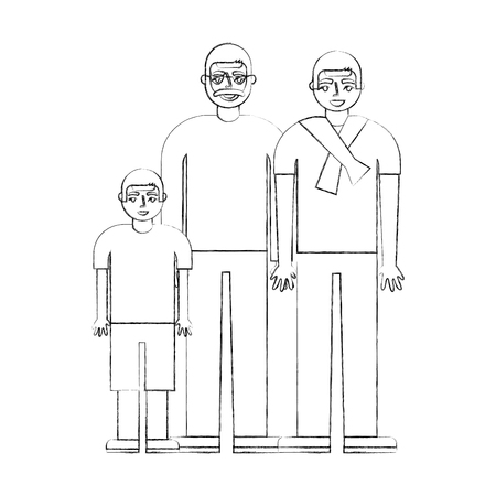 grandfather dad and son together vector illustration hand drawing