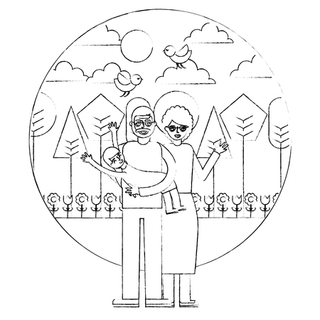 grandparents playing with her granddaughter in the park vector illustration hand drawing Vektorové ilustrace