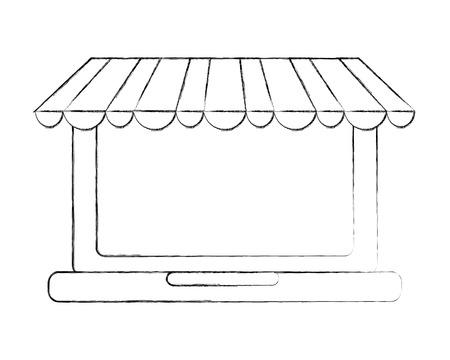 laptop online store buy online vector illustration hand drawing Illustration
