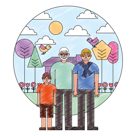grandfather dad and son together house garden trees vector illustration drawing Illusztráció
