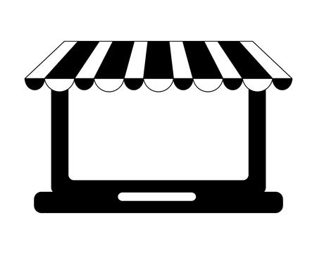 laptop computer with parasol vector illustration design Illustration