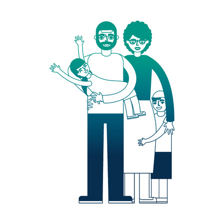group of family members characters vector illustration design Çizim