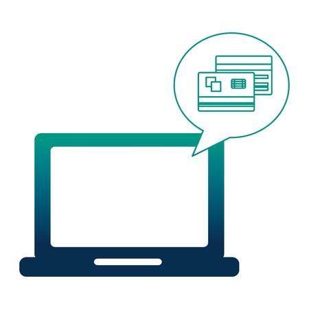laptop computer with credit cards vector illustration design Illustration