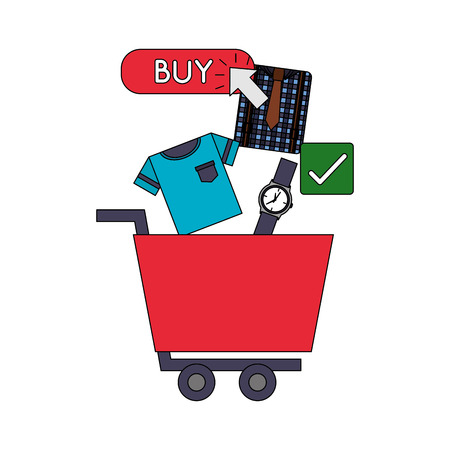 shopping cart watch clothes clicking buy online vector illustration