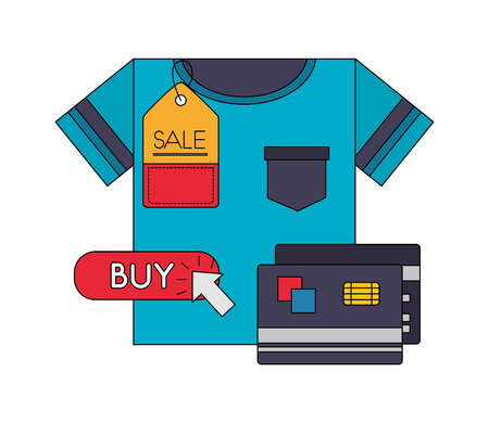 shirt bank credit cards price tag sale buy online vector illustration Foto de archivo - 112390088