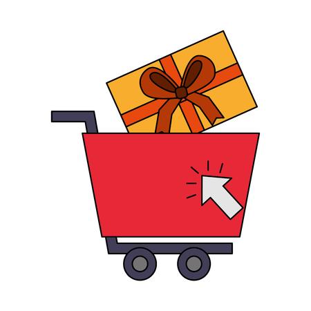 shopping cart gift box clicking buy online vector illustration Illustration