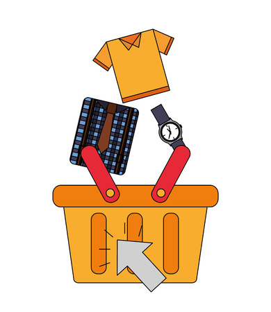 shopping cart accessory clothes buy online vector illustration 向量圖像