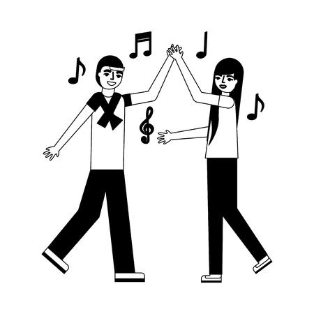 man and woman dancing music vector illustration monochrome