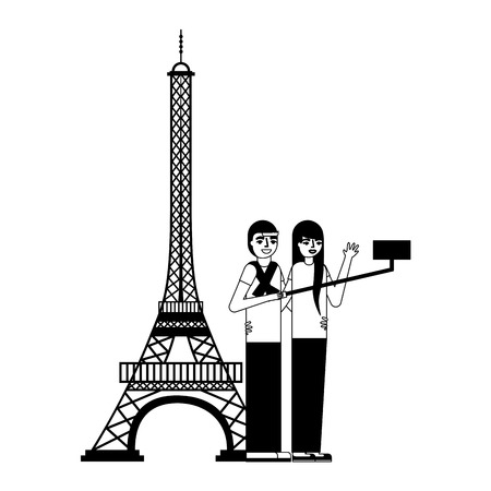 couple making selfie eiffel tower vector illustration monochrome