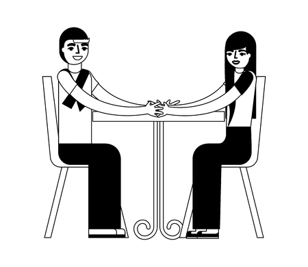 young couple sitting on chair with table vector illustration monochrome