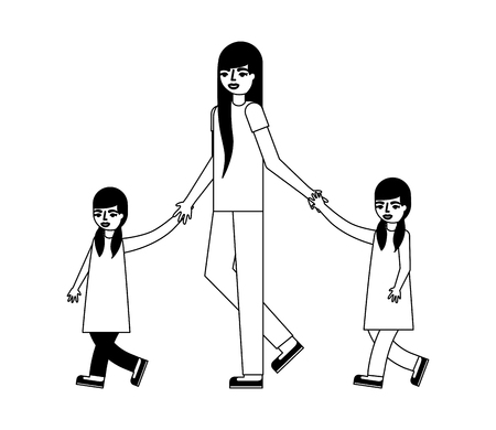 mother with her son and daughter holding hands vector illustration monochrome