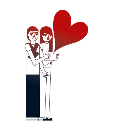 couple making selfie love heart vector illustration neon design Illustration