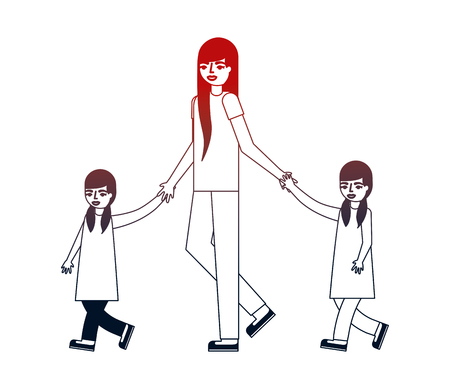 mother with her son and daughter holding hands vector illustration neon design