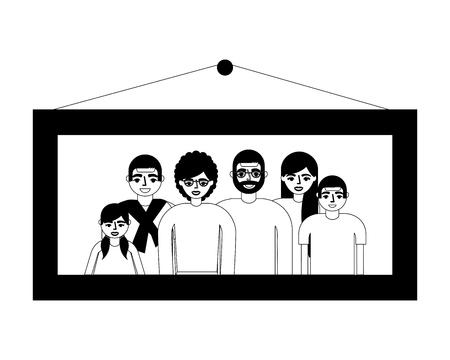 picture family grandparents parents and kids vector illustration monochrome