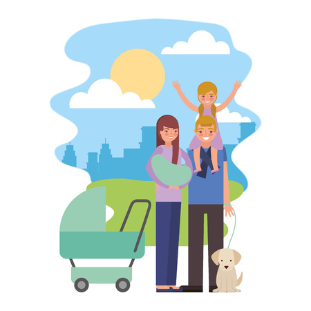 cute family with dog mascot in landscape vector illustration design