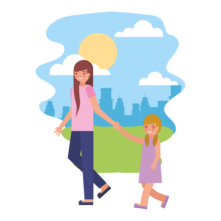 cute mother with daughter in landscape vector illustration design