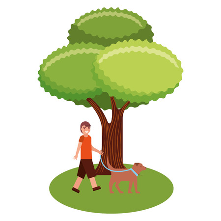 tree plant with young man and dog mascot vector illustration design