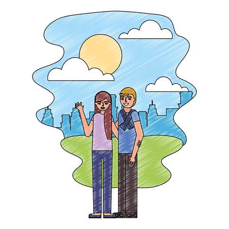 cute couple in landscape avatar character vector illustration design