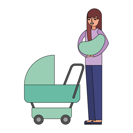 mother carrying her baby on arms and pram vector illustration 일러스트